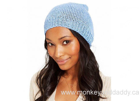 Collection XiiX Women's Denim Light Sequins Slouch Beanie Hat One Size