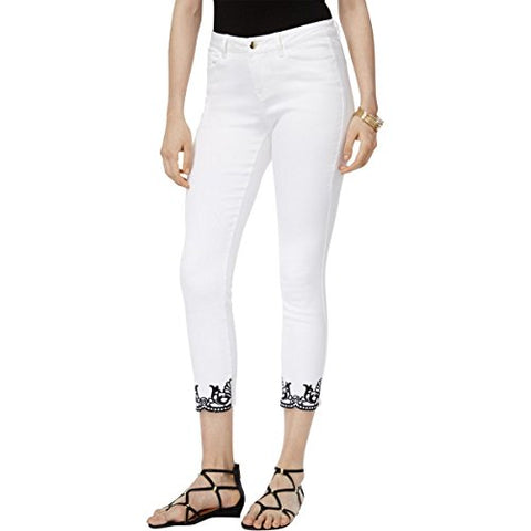 Thalia Sodi Women's White Denim Embroidered Ankle Jeans, Size 12