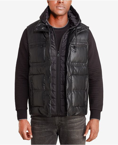 Sean John Men's Black Puffer Vest With Inset, Size L