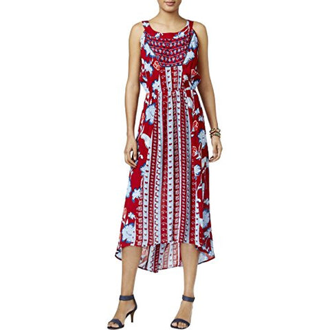 Style & Co. Womens Crinkled Printed Maxi Dress Red L