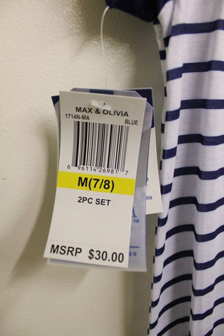 Max & Olivia Women's White Striped Pajama Top NWT