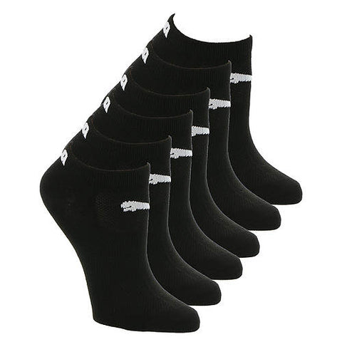 PUMA Women's Black and White Low Cut 6-Pack Socks, Size 5-9.5