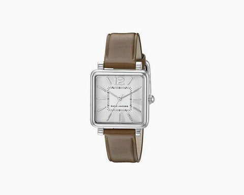 Marc Jacobs Women's Vic Dark Brown Leather Strap Watch 30mm MJ1436 NWT