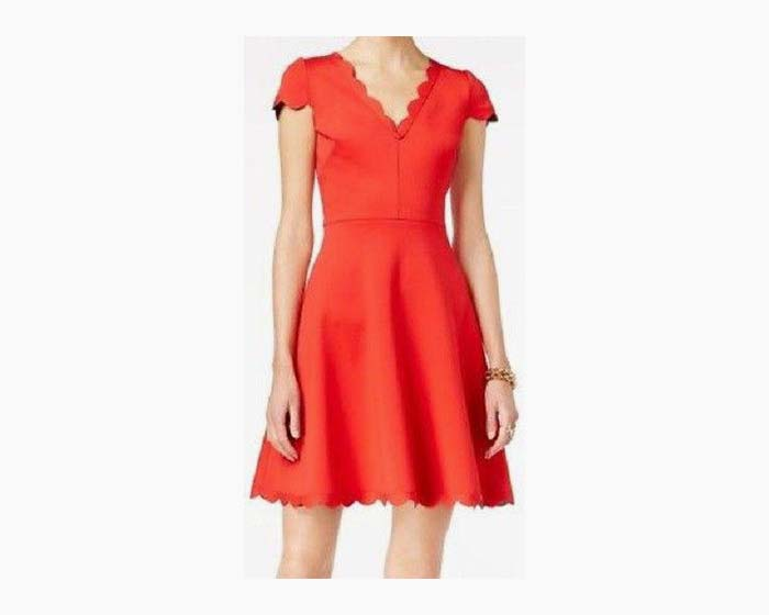 Betsey Johnson Red Womens Scalloped-Hem V-Neck A-Line Dress $148, 12, NEW