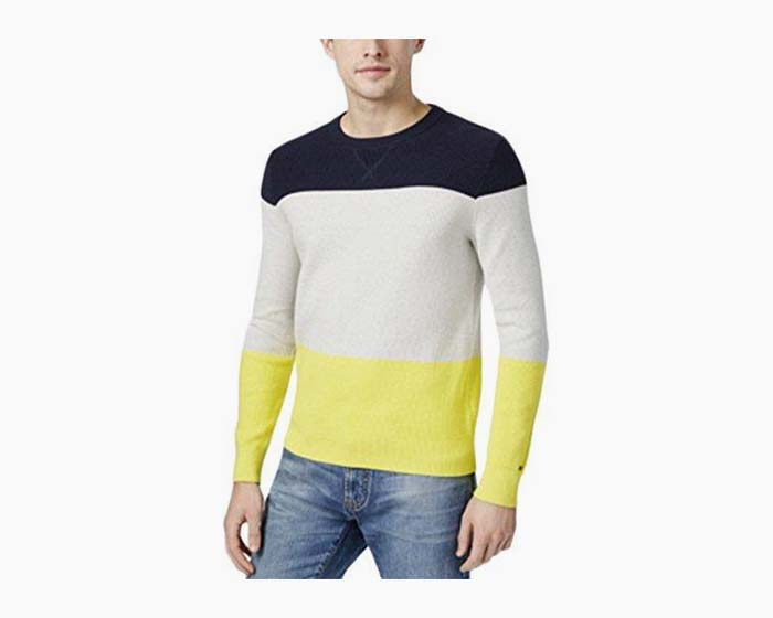 Tommy Hilfiger Mens Colorblocked Long-Sleeve Pullover Sweater, Multicolor, 2XL