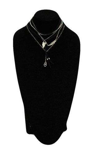 Free People Black Silver Leather Collar Necklaces