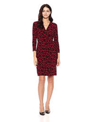 Anne Klein Womens Red 3-Tone Sheath Dress, Size 4, NWT
