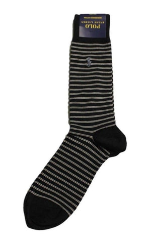 [2 Pack] Polo Ralph Lauren Skinny Stripe Dress Socks NWT