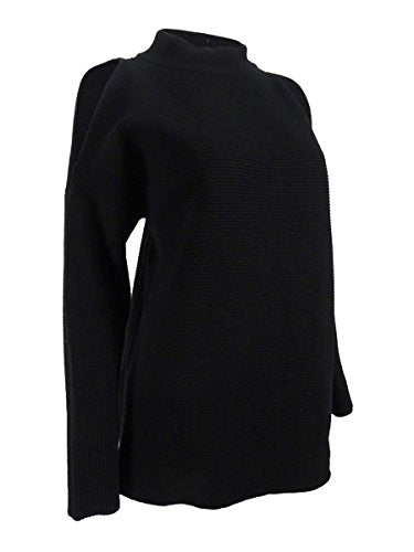 Alfani Womens Cold Shoulder Mock Neck Pullover Sweater Black M