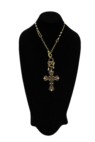 Free People Gold Chain Necklace w/ Rings and Cross