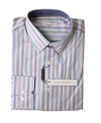 Alex Cannon Men's Dress Shirt, Blue Stripes, Size M, NWT