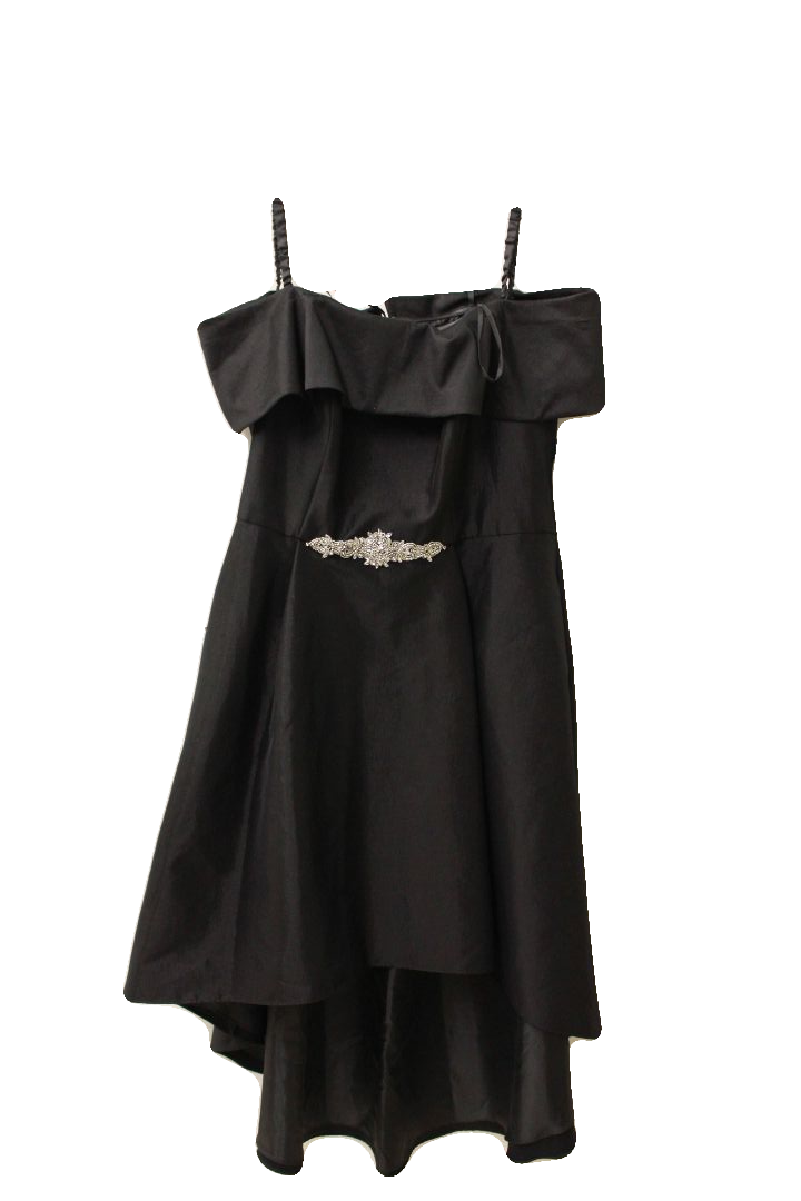 Betsy & Adam Women's Black Off the Shoulder Dress w/ Gems, Size 18W