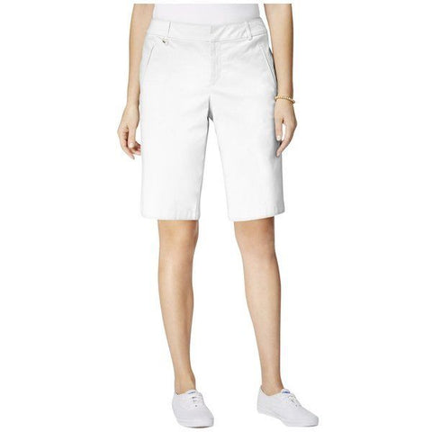 Charter Club Women's White Classic Fit Embellished Bermuda Shorts, Size 16