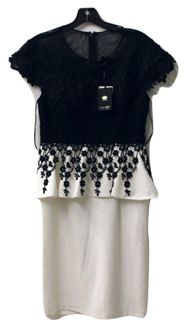 18d5d2dae9f Lotus Threads New York Women s Black and White Beaded Lace Dress Size 8