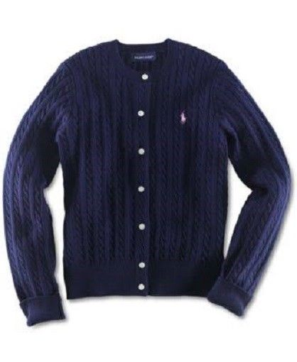 Ralph Lauren Girl's Cable-Knit Cotton Cardigan - French Navy - NWT