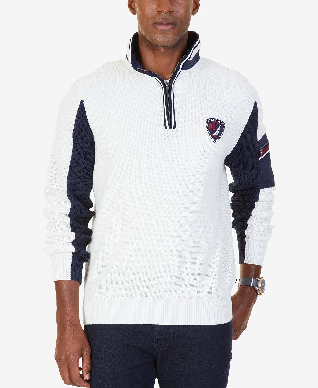 e62a387d84350 Nautica Men s White Navy Half-Zip Thermal Waffle-Knit Sweater NWT ...