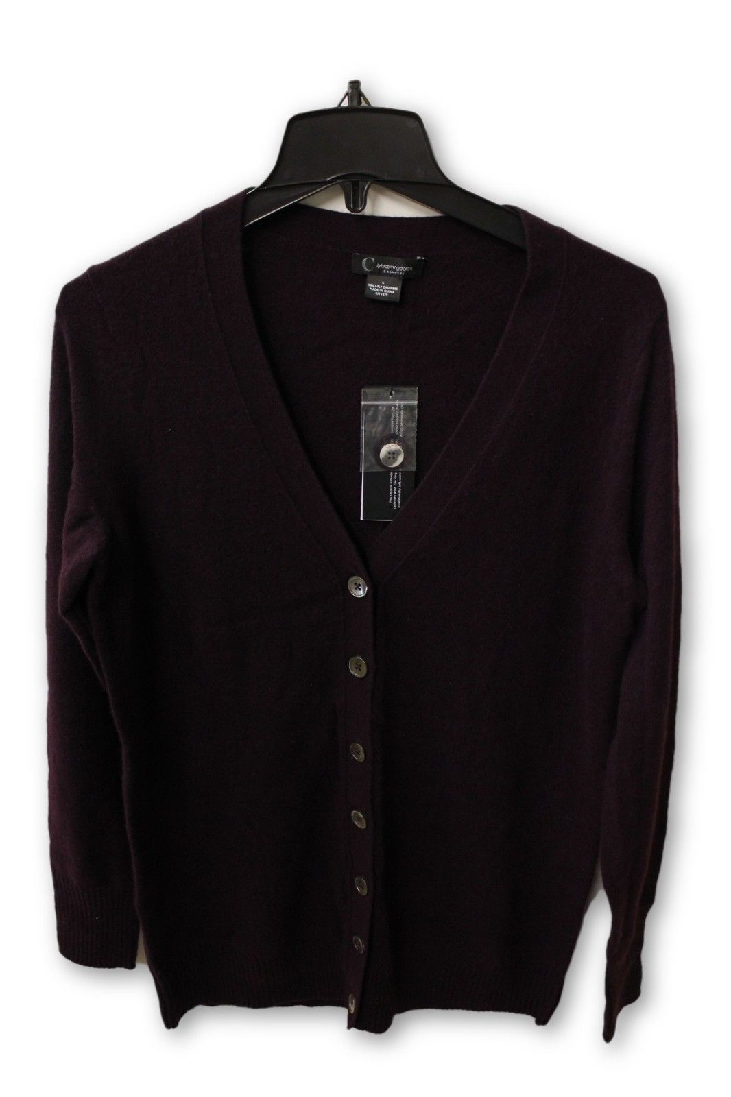 C by Bloomingdale's Women's Cashmere - Purple Buttoned Cardigan Sweater L NWT