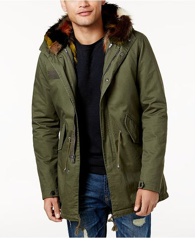 Reason Men's Olive Hillside Faux-Fur Lined Parka, Size XXXL