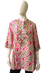 Fique Figue Light Weight Cotton Top, Size S, Pink Multi