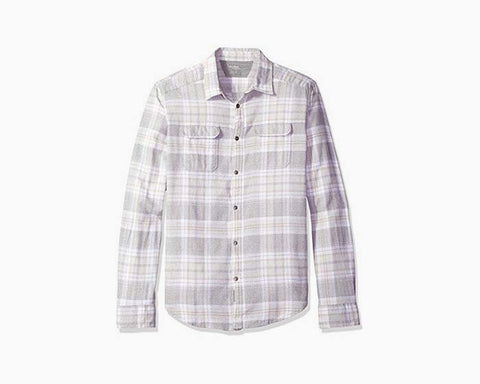 Calvin Klein Jeans Men's Short Sleeve Jaspe Check Button Down Shirt, Rainstorm, 2X-Large