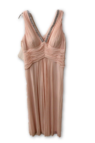 Marina Women's Pink Beaded V-Neck Pleat Mesh Gown 20W NWT