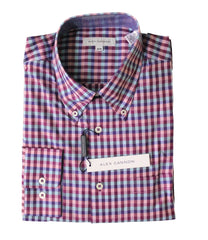 Alex Cannon Men's Dress Shirt, Purple Check, Size M, NWT