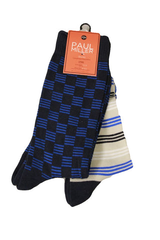 Paul Miller Men's Blue Patterned 2-Pack Socks, Sock Size 10-13
