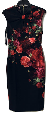 Ted Baker Women's Black and Floral Dress Size 1