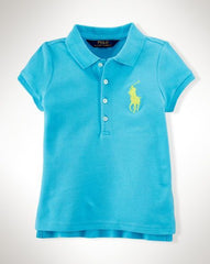 Ralph Lauren Girls Big Pony Stretch Mesh Polo-BLUE-Large NWT