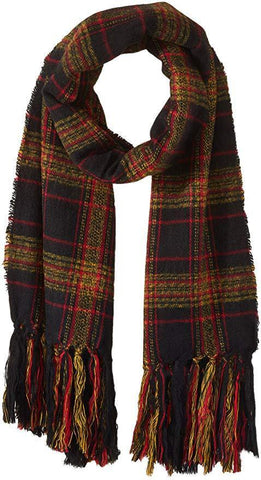 Steve Madden Women's New England Plaid Blanket Wrap Scarf, mustard, One Size