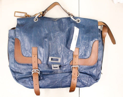 Kenneth Cole New York Men's Blue Leather Washed Messenger Bag NWT