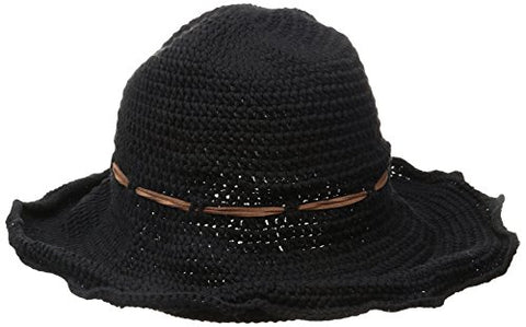 ale by Alessandra Women's Nikki Retro Crochet Floppy Hat With Leather Trim