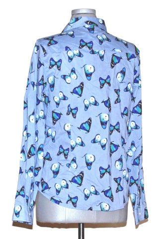 Tommy Hilfiger Butterfly Print Button Down Shirt Blue Sz XS $69.50