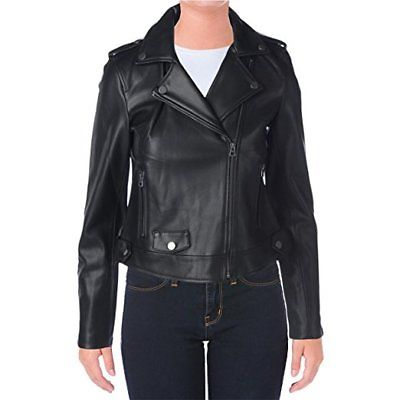 Lucky Brand Womens Faux Leather Bonded Motorcycle Jacket Black