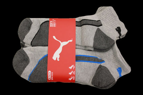 Puma Men's 6 Pack Low-Cut Sport Socks, Grey/Blue, Sock Size 10-13