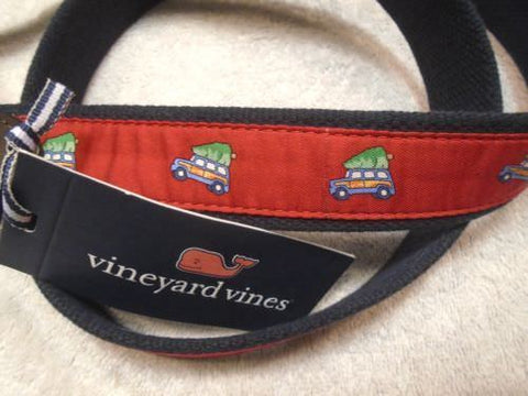 Vineyard Vines Men's Woody & Christmas Tree Pattern Canvas Club Belt, Size 30