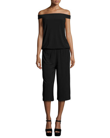 Laundry By Shelli Segal Womens Off-The-Shoulder Culotte Jumpsuit, Black, Size S