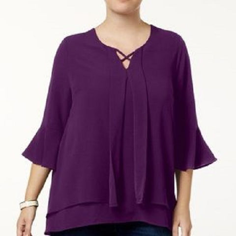 Monteau Womens Blouse with Layered Peasant Sleeves, Size 2X