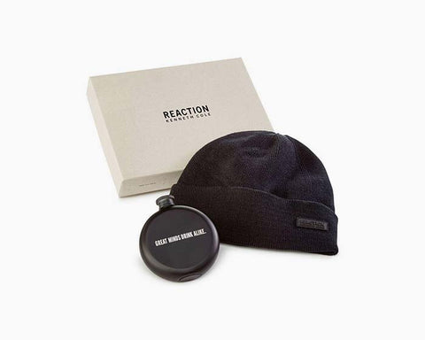 Kenneth Cole Men's Flask Gift Set Black Beanie Hat, One Size