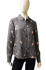 Ecru Clothing Tattered Look Silk Blend Blouse, Size M, 145