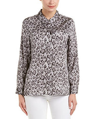 Vince Camuto Womens Chiffon Animal Print Button-Down Top Gray S
