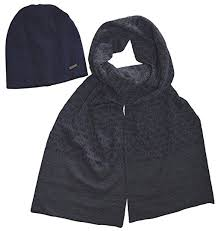 Michael Kors Men's Scarf and Beanie Set, Midnight, One Size
