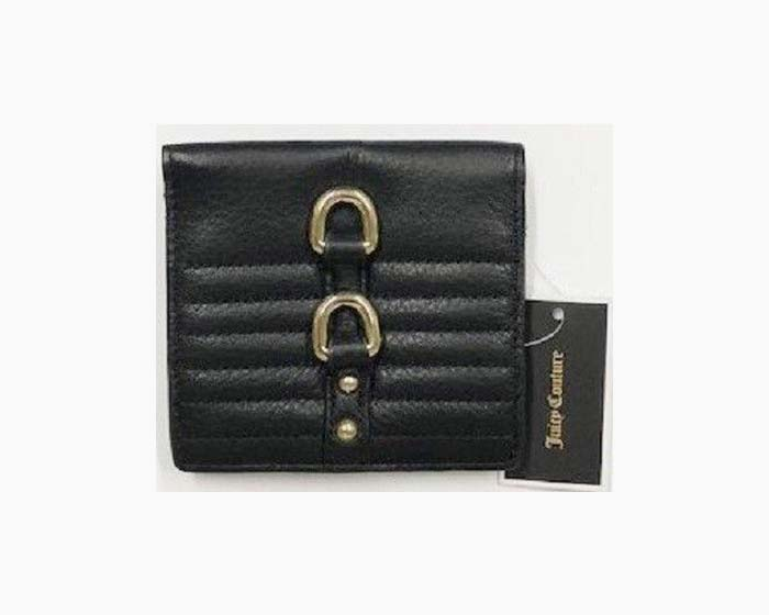 JUICY COUTURE Mini Bi-fold Soft Leather Wallet, Black, NWT, $79