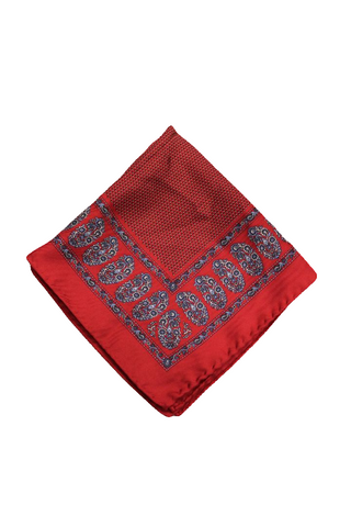Bloomingdale's Men's Red Patterned Pocket Square
