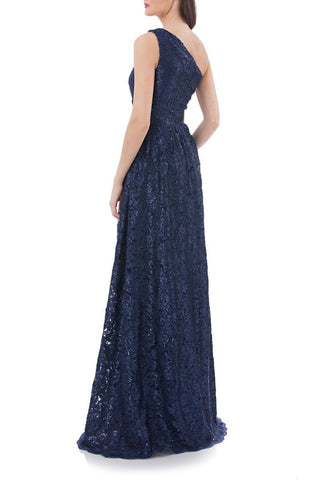 Women's Carmen Marc Valvo Infusion One Shoulder Sequin Lace Gown, Size 10 - Blue