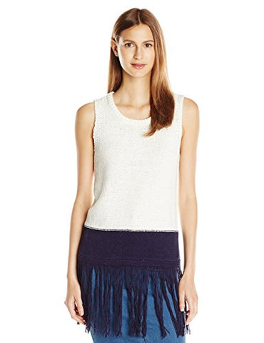 Two by Vince Camuto Women's S/L Crewneck Long Fringed Sweater Tank, New Ivory, X-Small