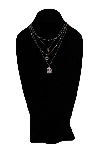 Free People Silver Collar Necklace w/ Religious Pendants and Dice