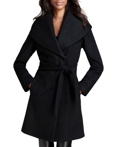 Calvin Klein Women's Black Belted Wrap Coat, Size XS NWOT