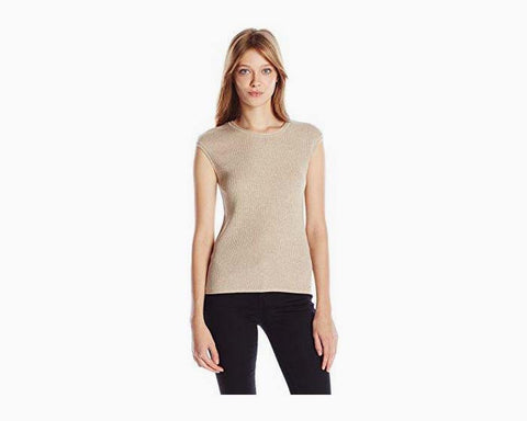 Calvin Klein Women's Ribbed Shell, Heather Latte, L