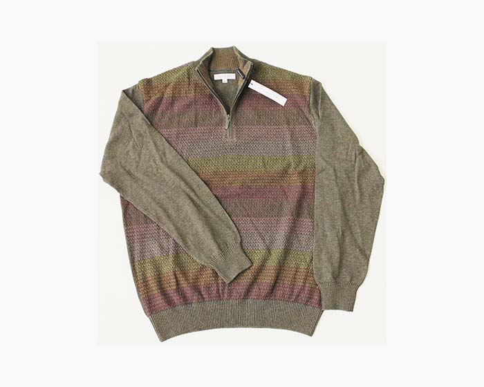 ALEX CANNON Men's 1/4 Zip Sweater, Size M, Turkish Coffee